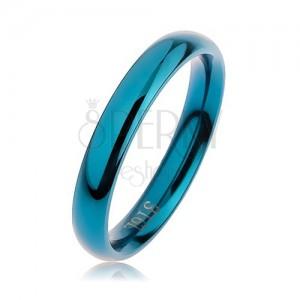 Modrý ocelový prsten, zaoblený hladký povrch s vysokým leskem, 3 mm