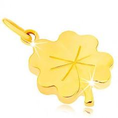 Přívěsek ze žlutého 9K zlata - lesklý plochý čtyřlístek pro štěstí, rýhy GG45.07