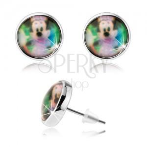 Puzetové náušnice cabochon, čirá glazura, barevný obrázek Minnie Mouse
