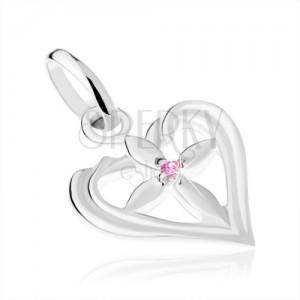 Lesklý přívěsek, stříbro 925, blyštivý křížek v kontuře srdce, růžový zirkonek