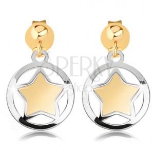 Dvoubarevné náušnice z 9K zlata - matná hvězdička v lesklém obrysu kruhu
