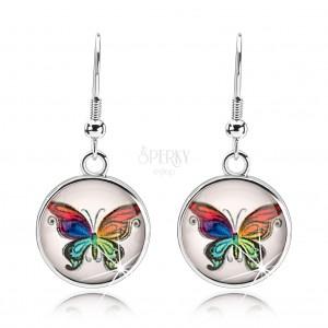 Náušnice cabochon, vypouklé sklo, pestrobarevný motýl, bílý podklad