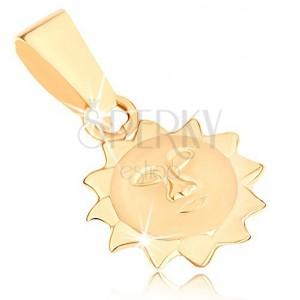 Přívěsek ve žlutém 9K zlatě - slunce s matnou tváří a lesklými paprsky