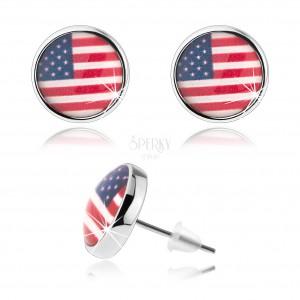 Kabošon náušnice, vypouklá glazura, motiv americké vlajky