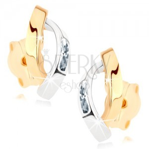 Zlaté náušnice 375 - dva lesklé obloučky ve zlaté a stříbrné barvě, zirkonky