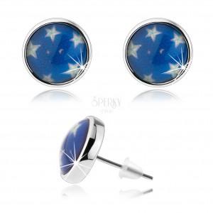 Náušnice cabochon, čirá glazura, bílé hvězdy, modrý podklad, puzetky
