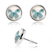 Náušnice cabochon, vypouklé sklo, modrý motýl s černými proužky, bílý podklad