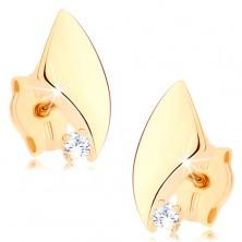 Náušnice ve žlutém 9K zlatě - nesouměrný trojúhelník, zaoblené strany, zirkon