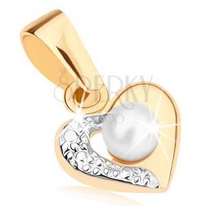 Přívěsek z 9K zlata - dvoubarevný obrys srdce, gravírovaná polovina, bílá perlička