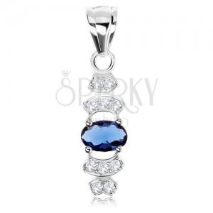 Přívěsek, stříbro 925, modrý zirkon - ovál, čiré zirkonové linie - oblouky