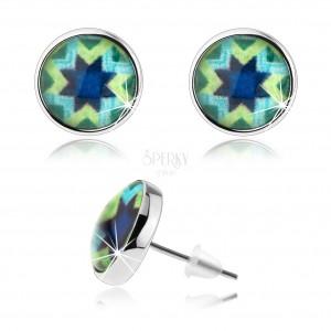 Náušnice, styl kabošon, glazura, stříbrná barva, modrá hvězda