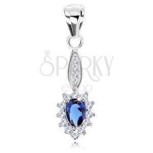 Přívěsek ze stříbra 925, úzký ovál, modrá zirkonová slza, třpytivý lem