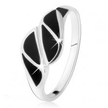 Strieborný prsteň 925, trojuholníky z čierneho ónyxu, vysoký lesk