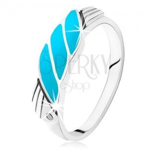 Prsten ze stříbra 925, šikmé linie z tyrkysu, andělská křídla, zirkonky