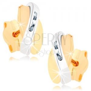Dvoubarevné náušnice v 9K zlatě - překrývající se obloučky, čiré zirkonky