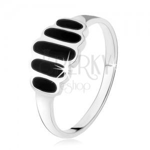Stříbrný 925 prsten, černé onyxové ovály, hladká ramena, vysoký lesk