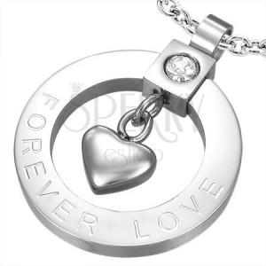 Ocelový přívěsek srdíčko a zirkon - FOREVER LOVE