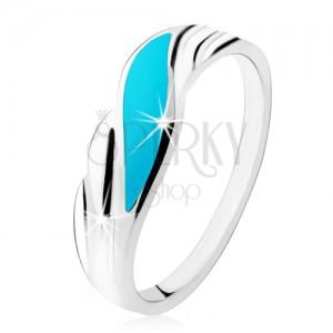 Prsten ze stříbra 925, tyrkysová vlnka, lesklé zvlněné linie po stranách