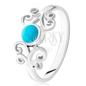 Stříbrný prsten 925, kulatý tyrkys, lesklé ornamenty, úzká ramena