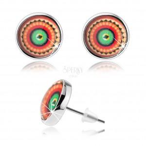 Puzetové náušnice, styl kabošon, vypouklá glazura, barevný obrázek - kruhy