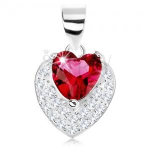 Přívěsek ze stříbra 925, třpytivé vypouklé srdíčko, červený srdcovitý zirkon