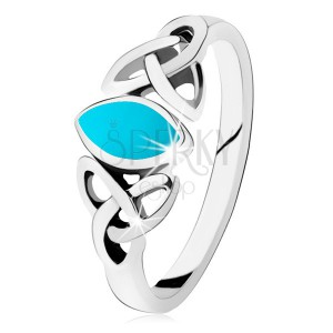Stříbrný 925 prsten, tyrkysové zrnko, propojené obrysy oválů