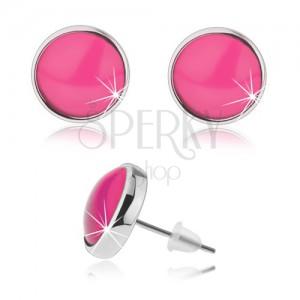 Kruhové puzetové náušnice, průhledné vypouklé sklo růžové barvy, kabošon
