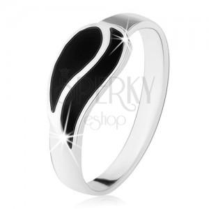 Prsten ze stříbra 925, dvě vlnky z černého onyxu, vysoký lesk