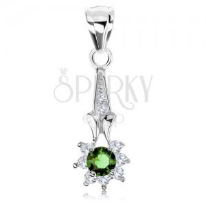 Přívěsek ze stříbra 925, zirkonový kvítek - zelený střed, čiré lupínky