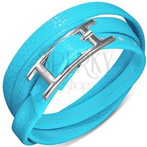 Trojitý náramek ze syntetické kůže modré barvy, zapínání s přezkou