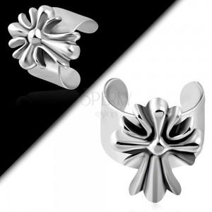 Ocelový fake piercing do ucha, gravírovaný liliový kříž, černá patina