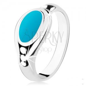 Stříbrný prsten 925, tyrkysový ovál, lesklý okraj, tři kuličky