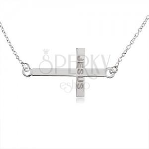 """Náhrdelník ze stříbra 925, lesklý latinský kříž, nápis """"JESUS"""", jemný řetízek"""