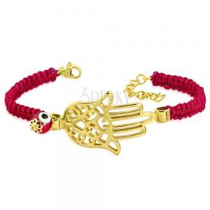 Pletený červený náramek s ocelovým přívěskem zlaté barvy - ruka Fatimy