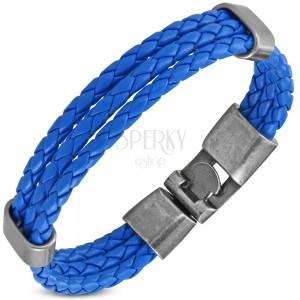 Modrý náramek, tři úzké zapletené proužky z umělé kůže, pohyblivé ovály
