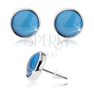 Náušnice ve stylu kabošon, vypouklé sklo, modrá barva, puzetky