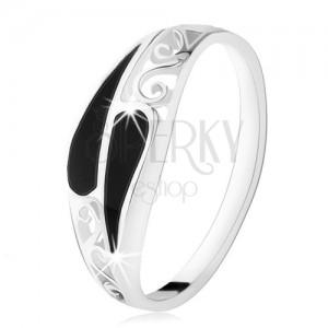 Prsten ze stříbra 925, dvě úzké onyxové kapky, filigránové zdobení