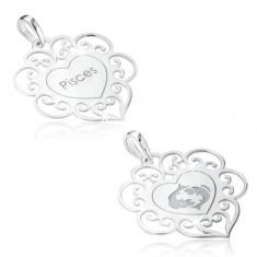 Přívěsek ze stříbra 925, znamení zvěrokruhu RYBY, srdce s ornamenty
