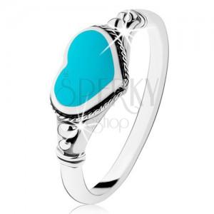 Stříbrný prsten 925, patinovaný, srdíčko z tyrkysu, kuličky