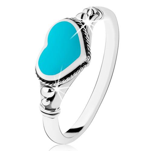 Levně Stříbrný prsten 925, patinovaný, srdíčko z tyrkysu, kuličky - Velikost: 64