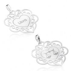 Oboustranný přívěsek, stříbro 925, znamení VÁHY, srdce s ornamenty