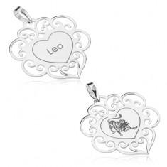 Stříbrný 925 přívěsek, ploché srdíčko s ornamenty, znamení LEV
