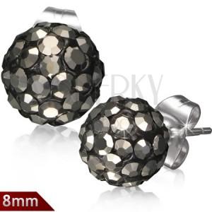 Ocelové náušnice Shamballa, černé kuličky, šedé broušené zirkony, 8 mm