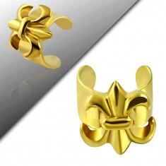 Fake piercing do ucha z oceli 316L, zlatá barva, Fleur de Lis
