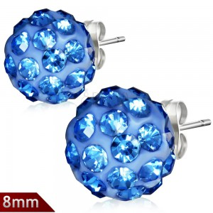 Shamballa náušnice z chirurgické oceli, světle modré kuličky, zirkony, 8 mm