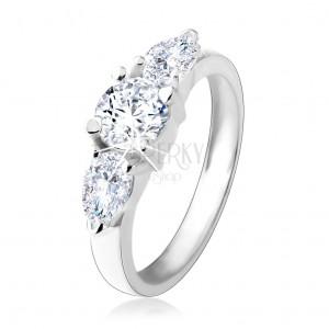 Zásnubní prsten ze stříbra 925, kulatý zirkon, dvě čiré zirkonové kapky