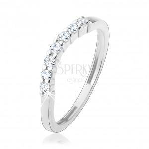 Prsten ze stříbra 925, úzká hladká ramena, zirkonový oblouk čiré barvy