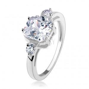 Zásnubní prsten, stříbro 925, velký čtvercový zirkon, kulaté zirkonky po stranách