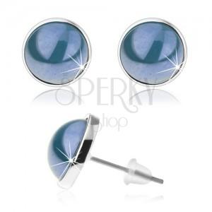 Puzetové náušnice, cabochon, neprůhledná glazura modré barvy