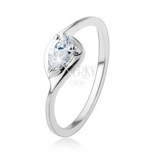 Stříbrný prsten 925, tenká ramena, čirá zirkonová kapka, lesklý obrys